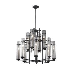 Murray Feiss F2629/8+4AF/BS Ethan Extra Large Chandelier Antique Forged Iron / Brushed Steel