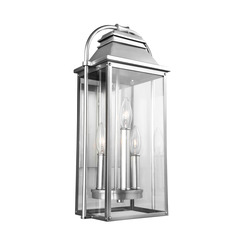 Murray Feiss OL13200PBS Wellsworth 3 - Light Outdoor Wall Lantern Painted Brushed Steel