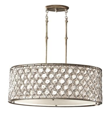 Murray Feiss F2569/3BUS Lucia Linear Burnished Silver 3 Light Shade Pendant