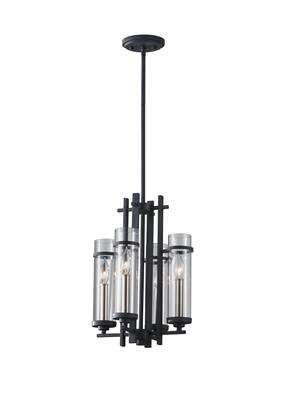 Murray Feiss F2627/4AF/BS Ethan 3 Light Mini Chandelier - Antique Forged Iron / Brushed Steel