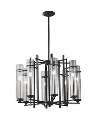 Murray Feiss F2628/8AF/BS Ethan 8 Light Single Tier Chandelier - Antique Forged Iron / Brushed Steel