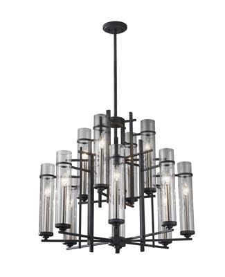 Murray Feiss F2629/8+4AF/BS Ethan Extra Large 12 Light Chandelier Antique Forged Iron / Brushed Steel