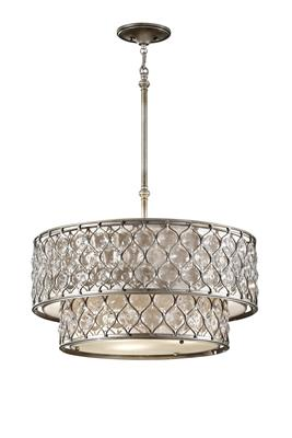 Murray Feiss F2707/6BUS Lucia Burnished Silver 6 Light Large Hanging Chandelier