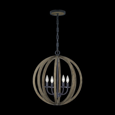 Murray Feiss F2935/4WOW/AF Allier Small 4 - Light Weathered Oak Wood / Antique Forged Iron Pendant