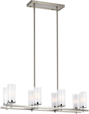 Murray Feiss F2986/8SN/CH Jonah 8 Light Island Linear Chandelier - Satin Nickel / Chrome