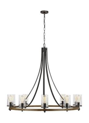 Murray Feiss F3137/10DWK/SGM Angelo Large Distressed Weathered Oak / Slate Grey Metal Chandelier