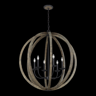 Murray Feiss F3186/6WOW/AF 6 Light Weathered Oak Wood / Antique Forged Iron Chandelier