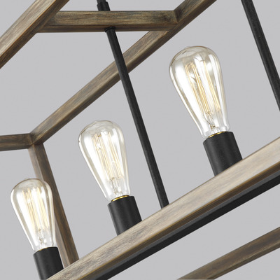 Murray Feiss F3193/5WOW/AF Gannet Linear 5 Light Weathered Oak Wood / Antique Forged Iron Chandelier