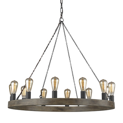 Murray Feiss F3932/12WOW/AF Avenir Medium Chandelier Weathered Oak Wood / Antique Forged Iron