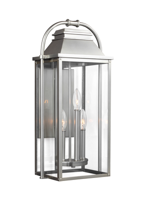 Murray Feiss OL13201PBS Wellsworth 3 - Light Outdoor Wall Lantern Painted Brushed Steel