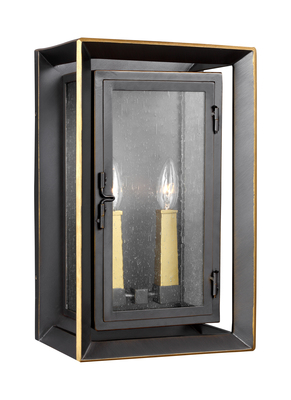 Murray Feiss OL13802ANBZ/PBB Urbandale 2 - Light Outdoor Wall Lantern Antique Bronze / Painted Burnished Brass - StoneStrong
