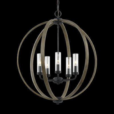Murray Feiss OLF3294/5WOW/AF Allier Outdoor 5 Light Outdoor Weathered Oak Wood / Antique Forged Iron Chandelier